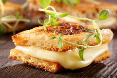 Fresh toast with cheese and herbs Stock Image