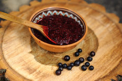 Fresh toast with homemade butter and blackcurrant jam on wooden Royalty Free Stock Photo
