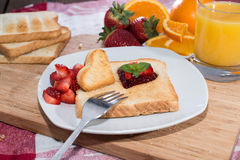 Fresh Toast with Jam (breakfast) Stock Photos