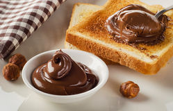 Fresh Toast with sweet chocolate spread for breakfast Royalty Free Stock Photography