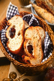 Fresh and toasted baguette in a bread basket Stock Photography