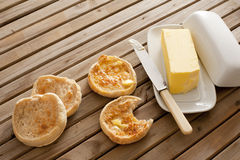 Fresh toasted hot English muffins Stock Photo
