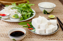 Fresh tofu with rice, salad and soy sauce. Stock Photos