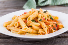 Fresh tomato and basil pasta Stock Image