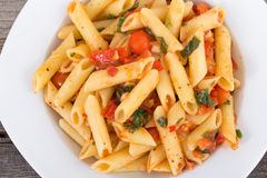 Fresh tomato and basil pasta Royalty Free Stock Photography