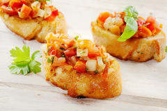 Fresh Tomato Bruschetta Served on Crusty Baguette Stock Photography
