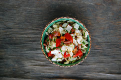 Fresh tomato and cabbage salad with parsley in ceramic bowl Stock Photos