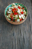 Fresh tomato and cabbage salad with parsley in ceramic bowl Stock Image