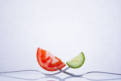 Fresh tomato and cucumber composition Stock Photo