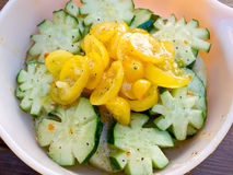 Fresh Tomato and Cucumber Salad. A garden fresh healthy summer salad with cucumber and tomato stock photos