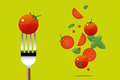 Fresh tomato on fork with flying tomatoes background , healthy food concept. Vector , illustration Royalty Free Stock Photo