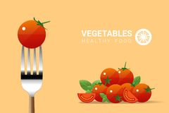 Fresh tomato on fork with pile of tomatoes background , healthy food concept. Vector , illustration Royalty Free Stock Photography
