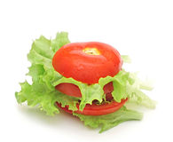 Fresh tomato with fresh lettuces salad Royalty Free Stock Photos