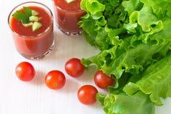 Fresh tomato gazpacho soup Stock Photos