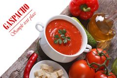 Fresh tomato gazpacho soup with vegetables Royalty Free Stock Image