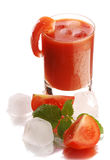 Fresh tomato juice in the glass stock images