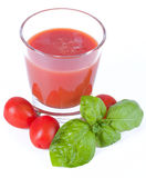 Fresh tomato juice with basil stock images