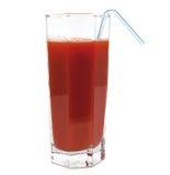 Fresh tomato juice glass with tubule isolated Royalty Free Stock Image