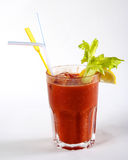 Fresh tomato juice with ice in a glass Stock Photography