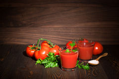 Fresh tomato juice. Rustic. Fresh tomato juice in a glass. Rustic Stock Photography