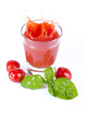 Fresh tomato juice splashing with basil Royalty Free Stock Photos