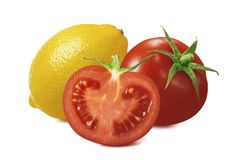 Fresh tomato and lemon isolated on white background. Package design element with clipping path royalty free stock photos