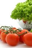 Fresh tomato and lettuce. On white background Royalty Free Stock Photography