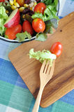 Fresh Tomato and Lettuce on Fork Royalty Free Stock Images