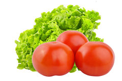 Fresh tomato and lettuce salad isolated on white background. Vegetables isolated on white background as package design element. Healthy eating. Food photography stock images