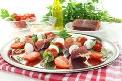 Fresh Tomato, mozzarella and ham skewers Royalty Free Stock Image
