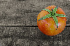 Fresh tomato on old wood. The scientific name of tomato is Lycopersicon Esculentum Mill royalty free stock photos