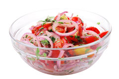 Fresh tomato and onion salad Stock Photos