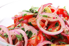 Fresh tomato and onion salad stock image