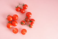 Fresh tomato. On pink background with drops of dew Stock Image