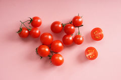 Fresh tomato. On pink background, top view Royalty Free Stock Photography