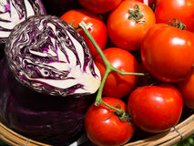 Fresh Tomato and Red cabbage Stock Image