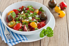 Fresh tomato salad. With onion and parsley Royalty Free Stock Images
