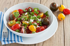 Fresh tomato salad. With onion and parsley Stock Images