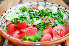 Fresh tomato salad in traditional bulgarian plate Royalty Free Stock Photography