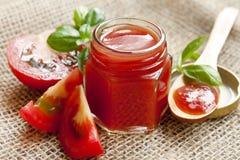 Fresh tomato sauce with basil Stock Photo