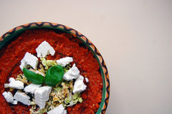 Fresh tomato sauce with basil leaves and goat cheese Royalty Free Stock Photography