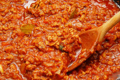 Fresh tomato sauce, ragu. Fresh tomato sauce for lasagna Royalty Free Stock Photo