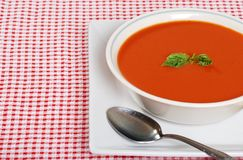 Fresh tomato soup with basil Royalty Free Stock Photo