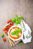 Fresh tomato soup  with basil and cream Stock Photo