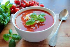 Fresh tomato soup Royalty Free Stock Image