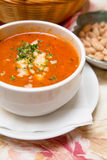 Fresh Tomato Soup with Bread and Cheese Stock Photography