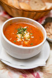 Fresh Tomato Soup with Bread and Cheese Stock Image