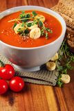 Fresh Tomato Soup with Bread and Spice Royalty Free Stock Photography