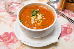 Fresh Tomato Soup with Cheese Royalty Free Stock Photos