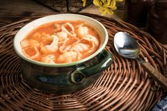 Fresh tomato soup with conchigliette royalty free stock photography